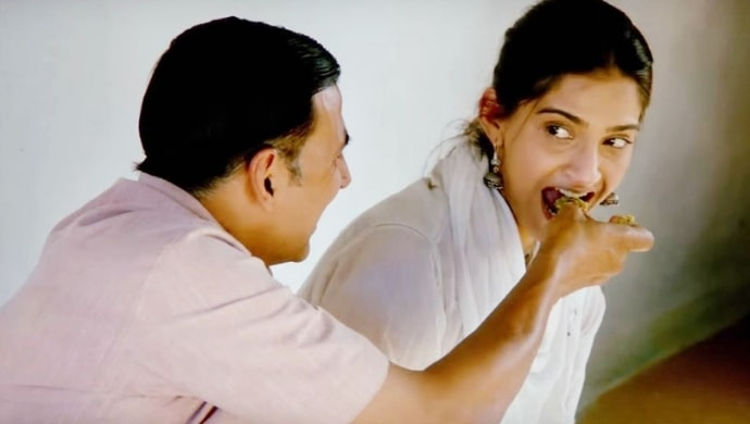 Akshay Kumar and Sonam Kapoor in a scene from Pad Man