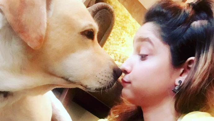 ankita lokhande with her labrador hatchi