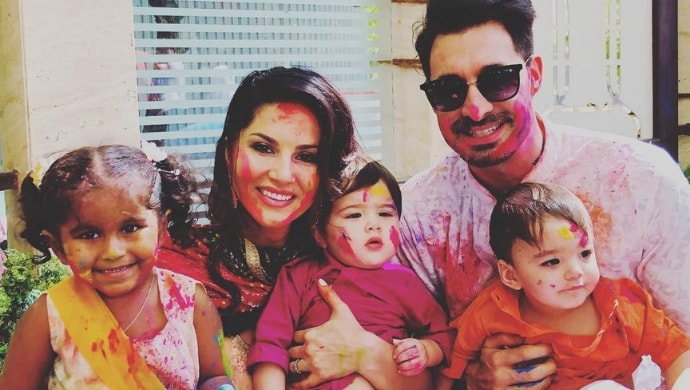 Sunny Leone with husband Daniel Weber and kids Nisha, Asher and Noah