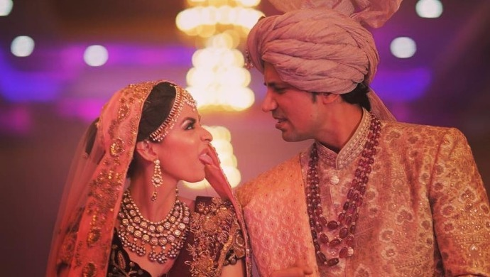 Ekta Kaul and Sumeet Vyas in a picture from their wedding album