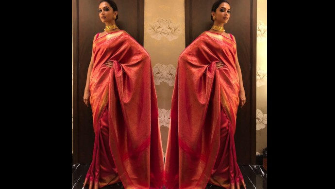 Deepika Padukone in a silk Sabyasachi saree