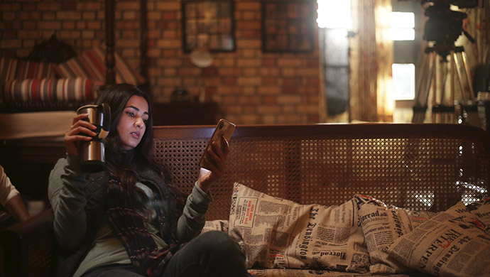 Sonal Chauhan takes a break on the sets of Skyfire