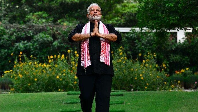 PM Modi doing Yoga
