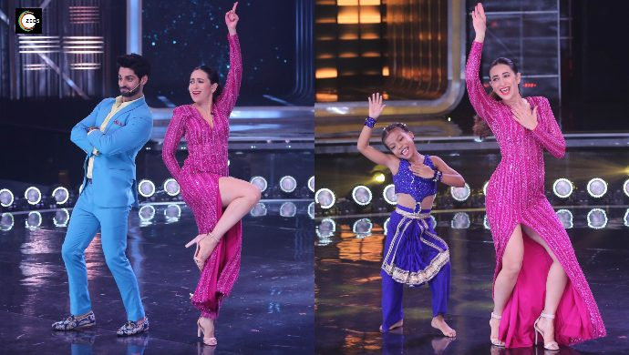Karisma Kapoor with Karan Wahi on Dance India Dance 7 sets