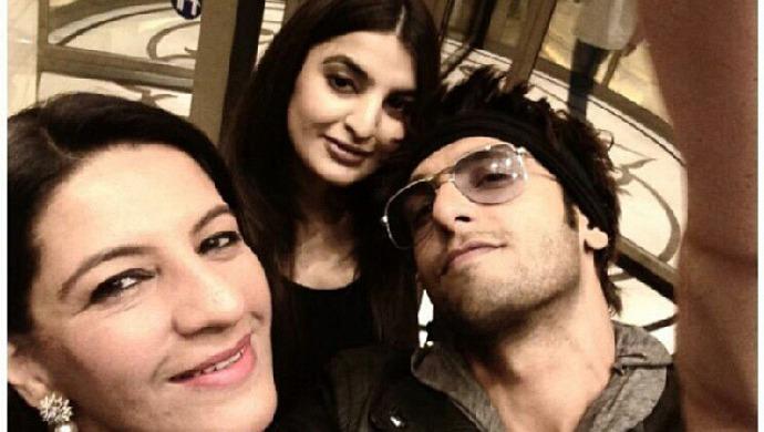 Ranveer Singh with his mom Anju Bhavnani and sister Ritika Bhavnani