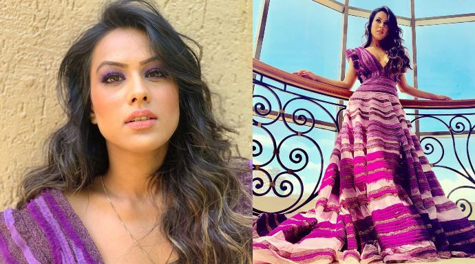 Nia Sharma for Jamai 2.0 promotions in a purple gown