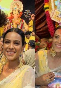 Ravi Dubey, Nia Sharma visit Lalbaug cha Raja