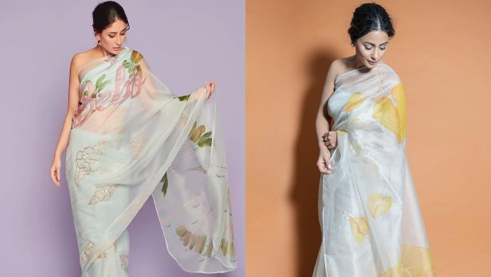 Kareena Kapoor Khan and Hina Khan in an organza saree