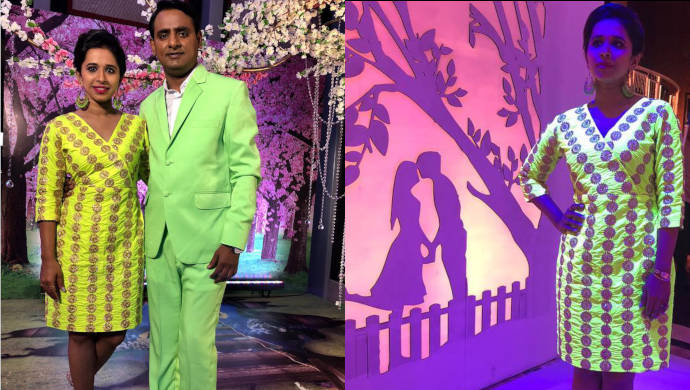 Chala hawa Yeu Dya comic Shreya Bugde in a neon dress