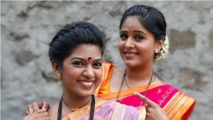 A Still Of Tuzhat Jeev Rangala Actresses Akshaya Deodhar And Dhanashri Kadgaonkar