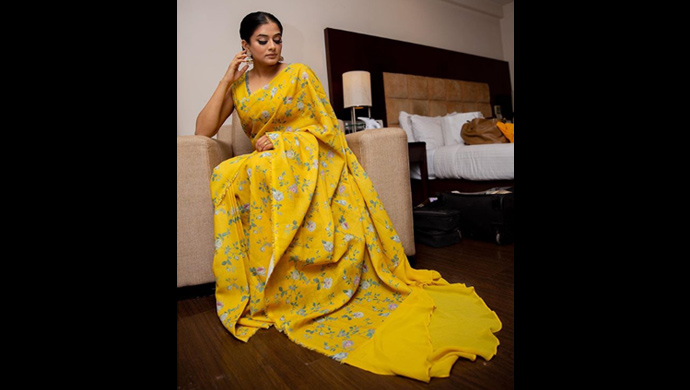 Priya Mani Raj in yellow floral saree