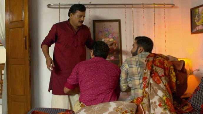 Krishnan finds Anand and Subramanian under the blanket (source:ZEE5)