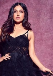 Bhumi Pednekar poses in a black gown