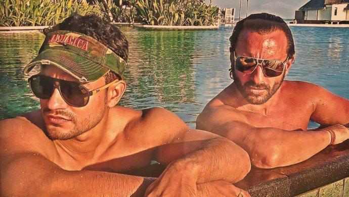 Saif Ali Khan with Kunal Kemmu in the pool