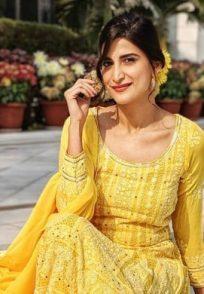 Aahana Kumra in a yellow suit