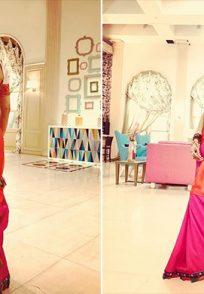 Pavitra in pink saree