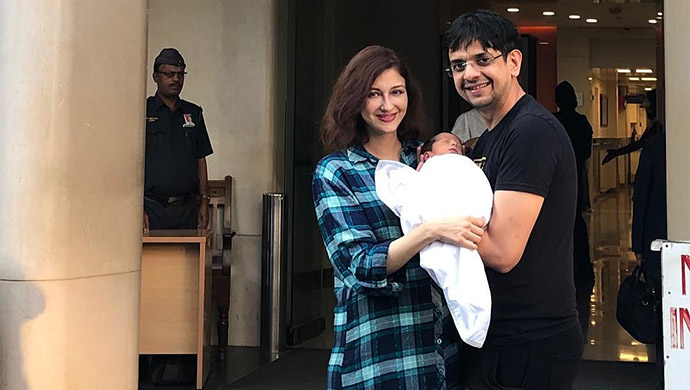 Saumya Tandon with husband and baby