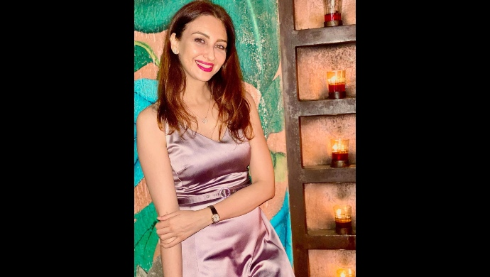 Saumya Tandon in a satin dress on New Year's eve