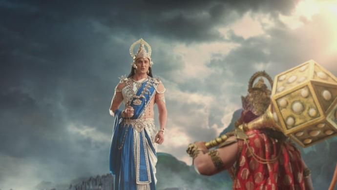 Still from Kahat Hanuman Jai Shri Ram with Indra and Baali