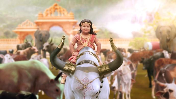 Still from Kahat Hanuman Jai Shri Ram with Maruti on a bull