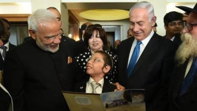 Moshe Holtzberg with PM Narendra Modi