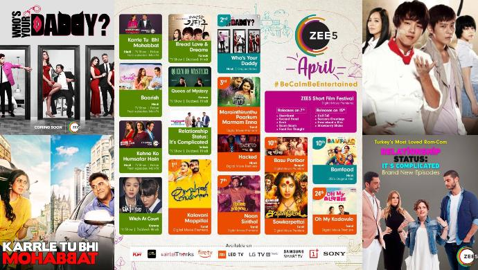 April 2020 calendar of shows and films on ZEE5