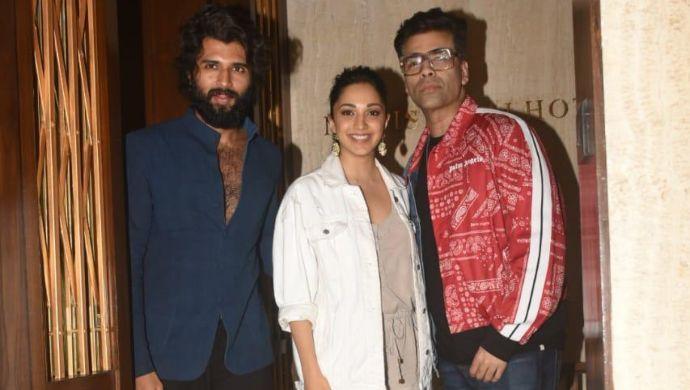 Vijay Deverakonda with Kiara Advani and Karan Johar