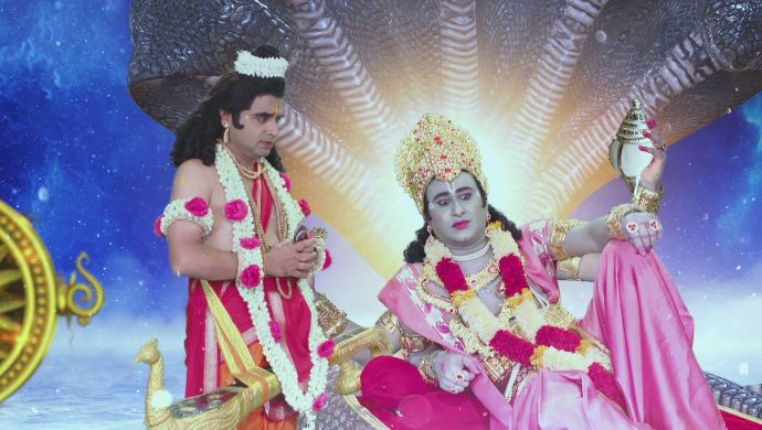 Lord Vishnu and Narada in Thoorpu Padamara