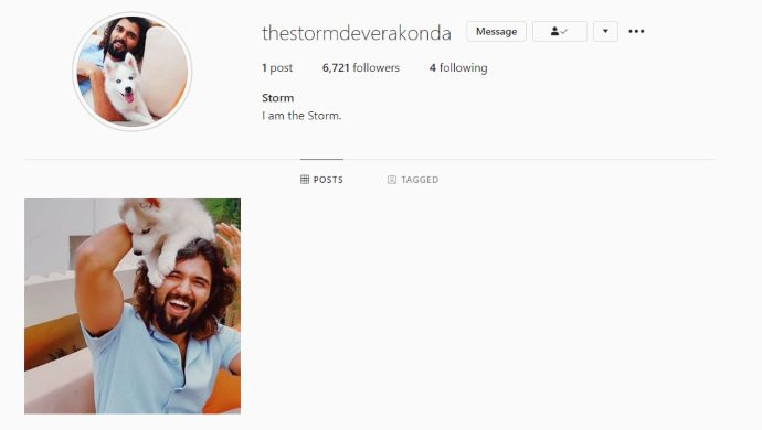 Storm Deverakonda Instagram Page