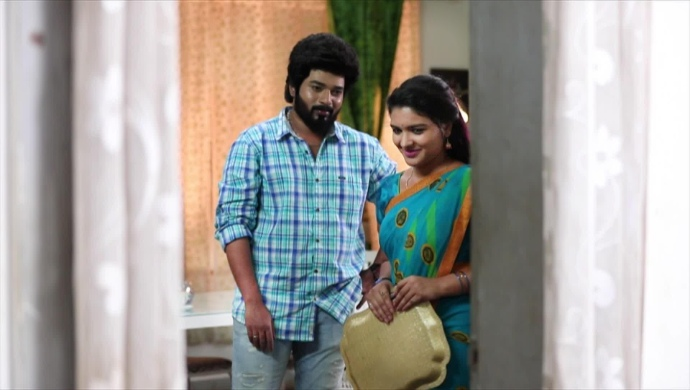 Adithya and Parvathy in his room