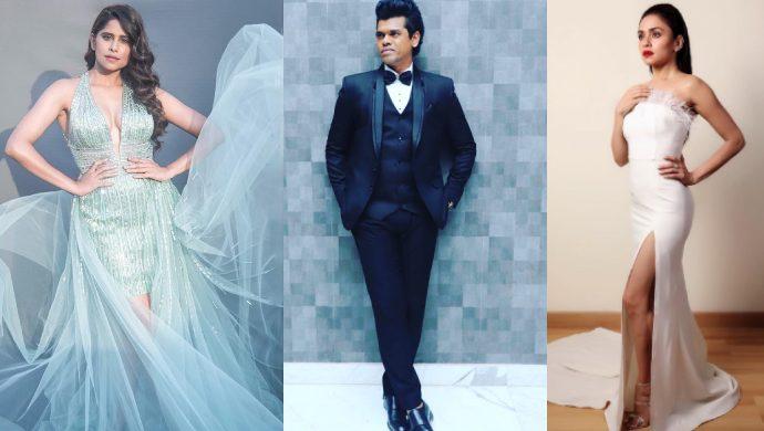 Sai Tamhankar, Siddharth Jadhav and Amruta Khanvilkar at Filmfare Awards 2019