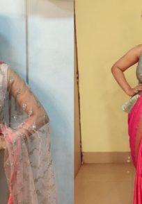 Stylish blouses by Priya Bapat and Urmila Kothare.