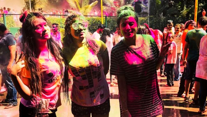 Amulya And Her Friends During Holi 2018