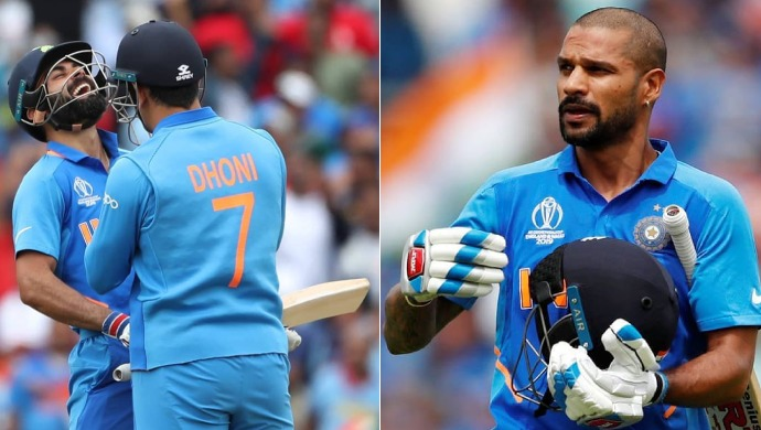 A Still Of Virat Kohli, Dhoni And Shikhar Dhawan During The India Vs Australia Match In ICC 2019