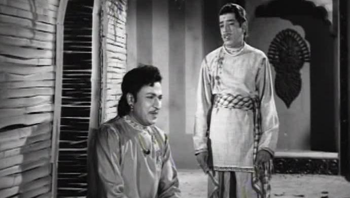 A Of Dr Rajkumar And TR Narasimharaju In The Film Chandrahasa