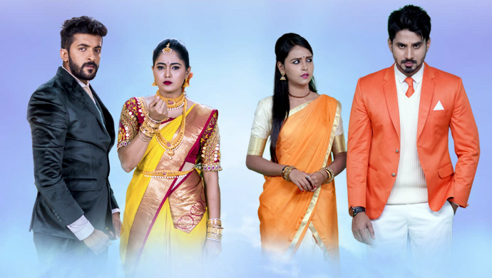 A Still Of Aditya, Paaru, Amulya And Vedanth, The Lead Characters Of Paaru And Gattimela, Repectively