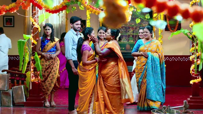 A Still Of Parimala Thrilled That Aadya And Sarthak Could Make It