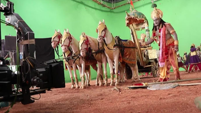 A Behind-The Scenes-Still Of The Crazy Star As Krishna