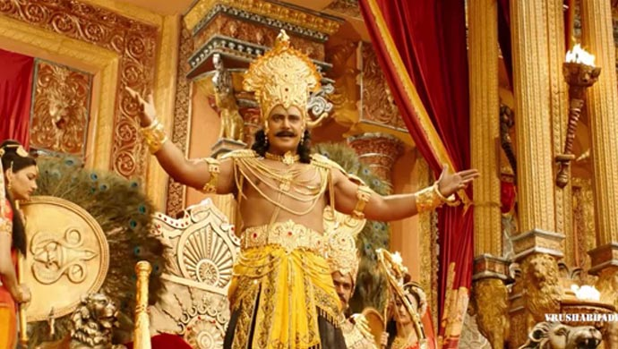 A Still Of Challenging Star Darshan As Duryodhana In Kurukshetra