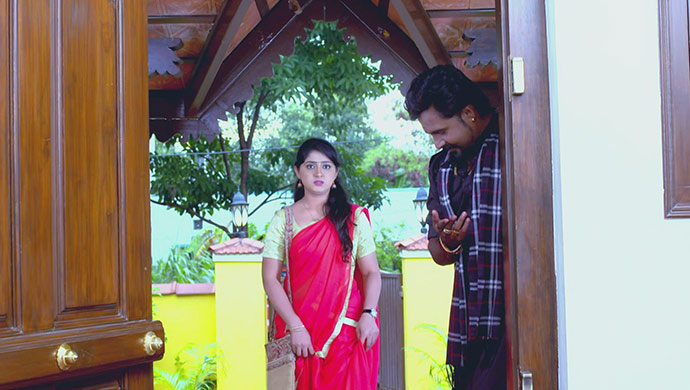 A Still Of Radha Being Welcomed Into Her Own House By Vajramuni