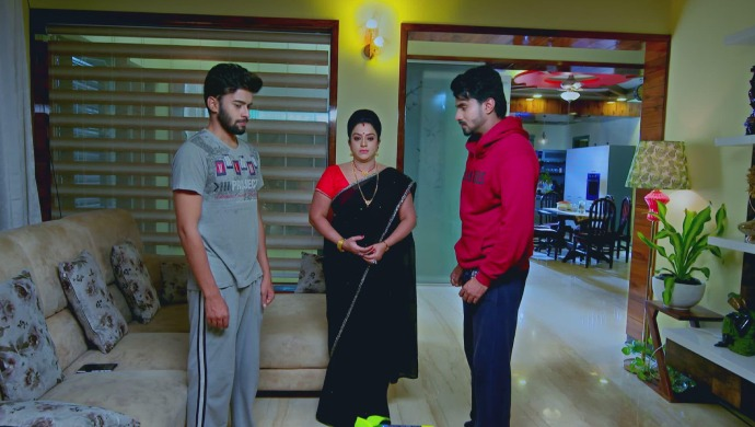 A Still Of Vicky, Suhasini And Vedanth