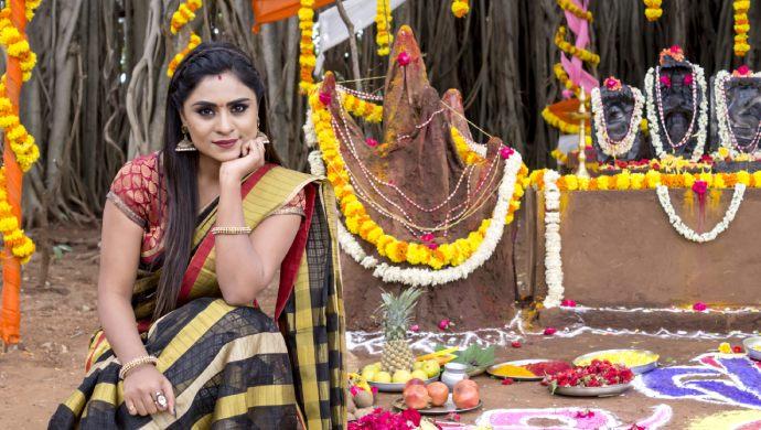 An Exclusive Still Of Deepika Das Aka Amrutha Posing On The Nagarapanchami Day