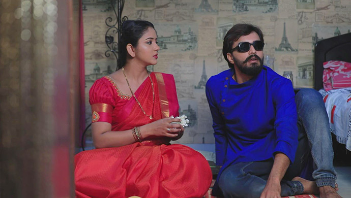 Hiranmayi And Soorya In A Still From Mahadevi