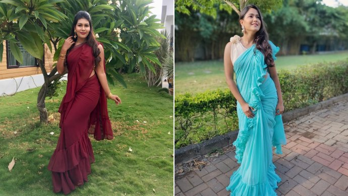 A Collage Of Anika And Paaru Wearing Ruffled Sarees
