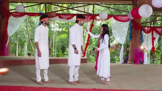 A Still Of Vicky, Vedanth And Amulya