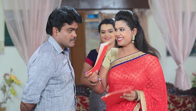 A Still Of Shanmugha, Sharmila And Maya