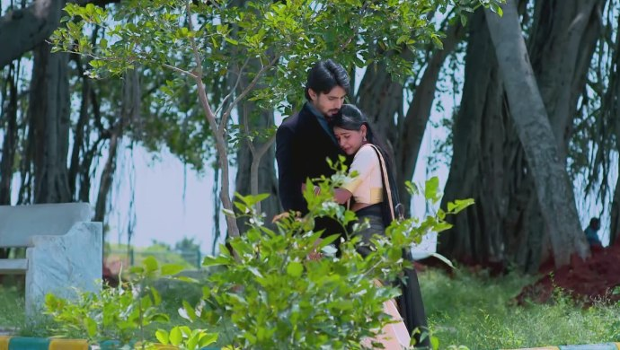 A Still Of Vedanth And Amulya Hugging Each Other