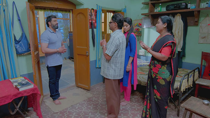 A Still Of The Sirimane Family Thanking Aarya For All His Help