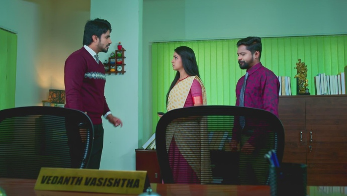 A Still Of Vedanth, Amulya And Kantha In His Cabin
