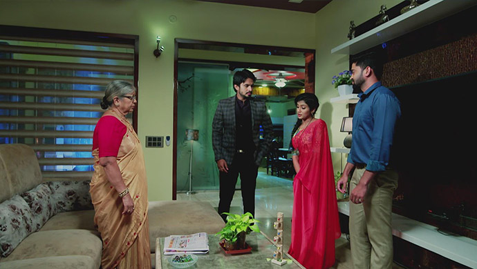 A Still Of Vedanth, His Grandmother, Aadya And Sarthak